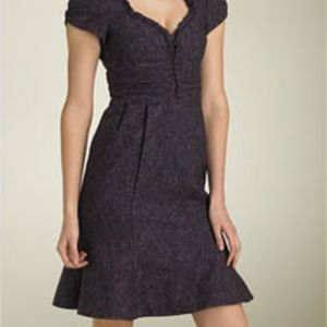 Nanette Lapore Purple Wool Tweed Dress Size 6